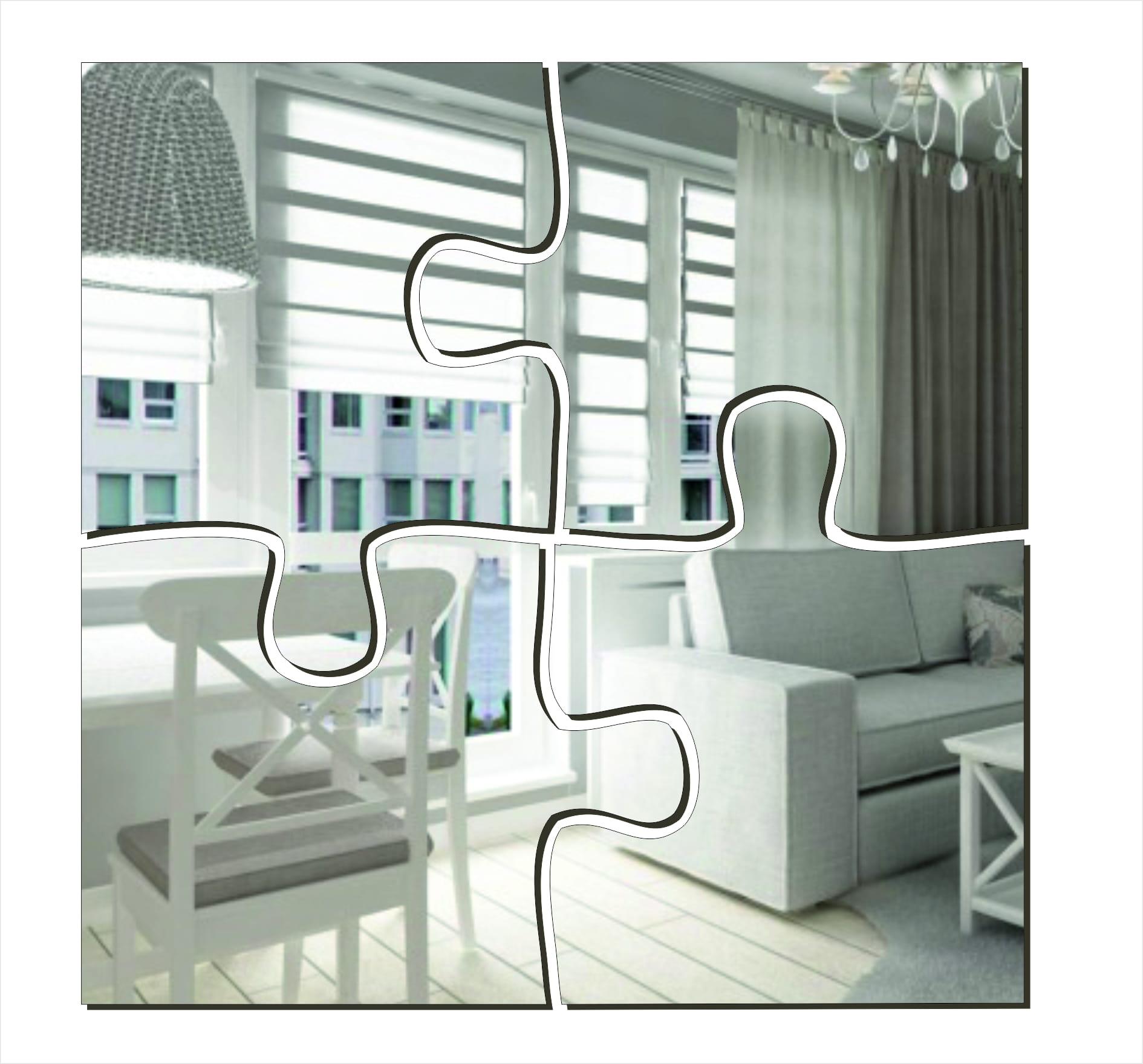 Dekoracyjne Lustro Akrylowe Puzzle